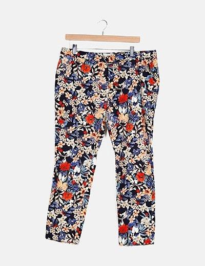 Pantalón multicolor estampado floral