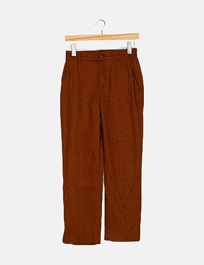 Pantalón fluido marrón texturizado