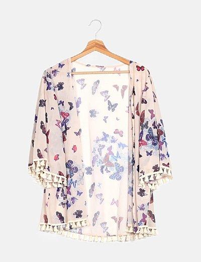 Kimono multicolor floral detalle borlas