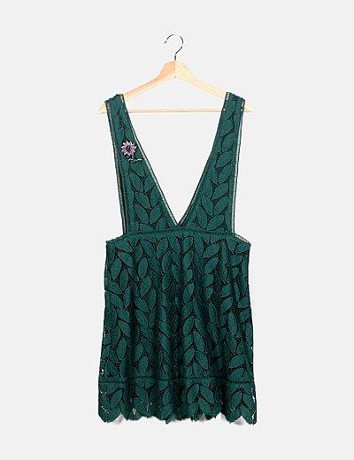 Vestido verde detalles crochet