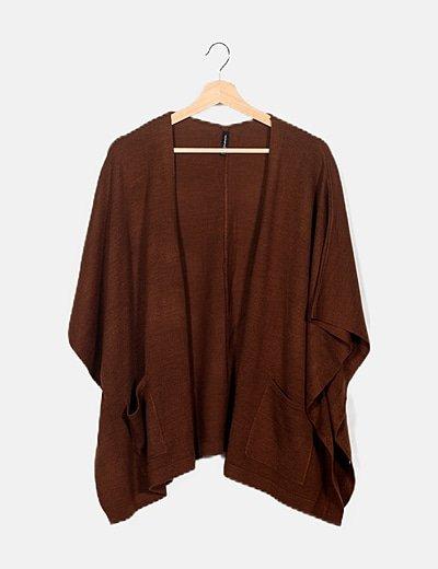 Kimono tricot marrón oversize