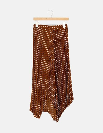 Falda maxi plisada marrón con topos