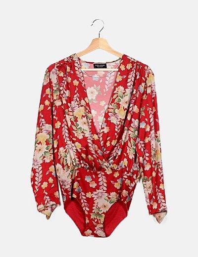 Body cruzado rojo estampado floral