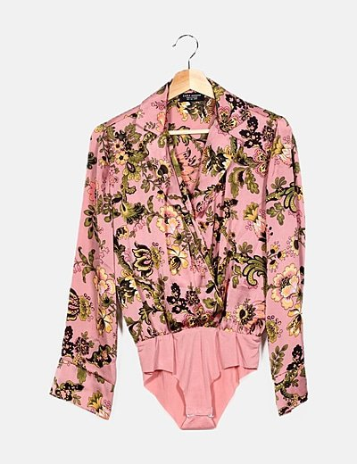 Body rosa estampado floral
