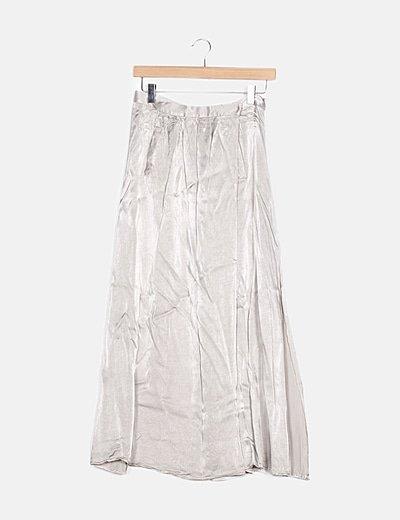 Falda maxi gris irisada