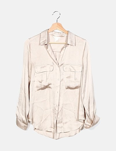 Camisa beige satén