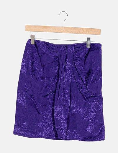 Falda mini morada estampada