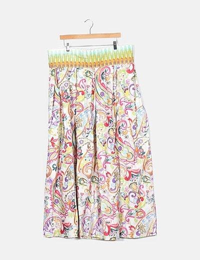 Falda beige estampado floral