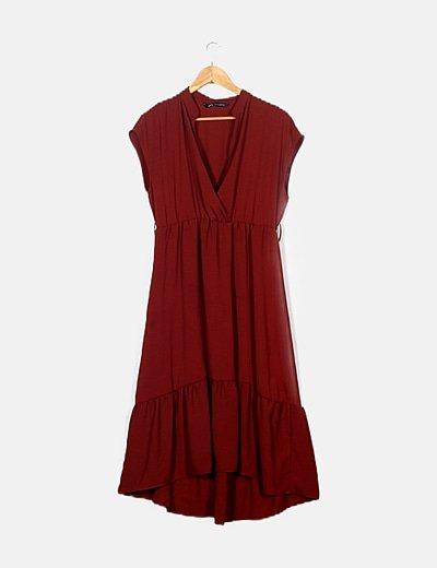 Vestido fluido color teja