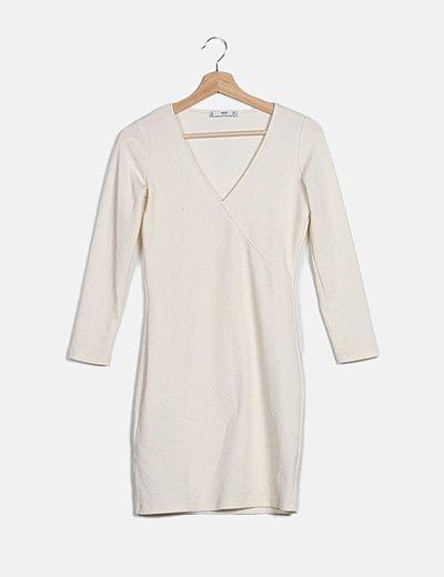 Vestido blanco texturizado manga larga