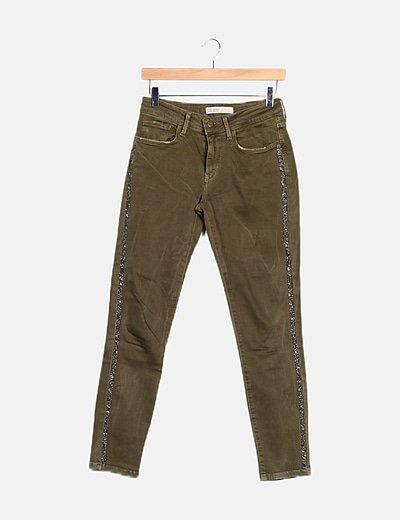 Pantalón verde detalle brillante
