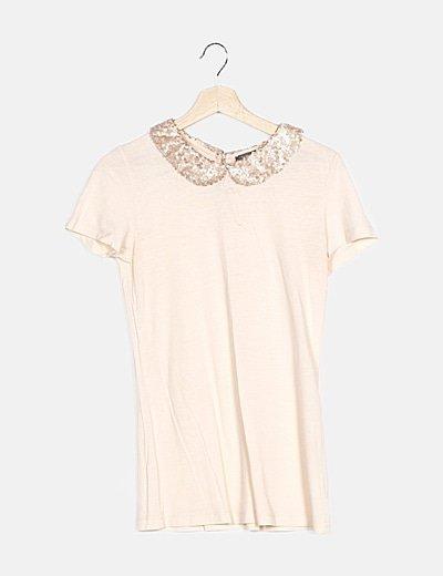 Camiseta rosa detalle paillettes