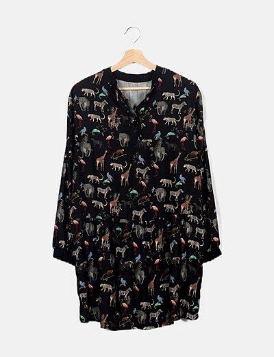 Vestido mini negro estampado animales
