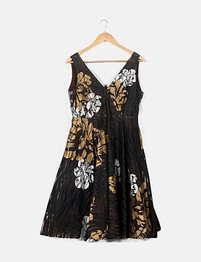 Vestido satinado marrón print floral