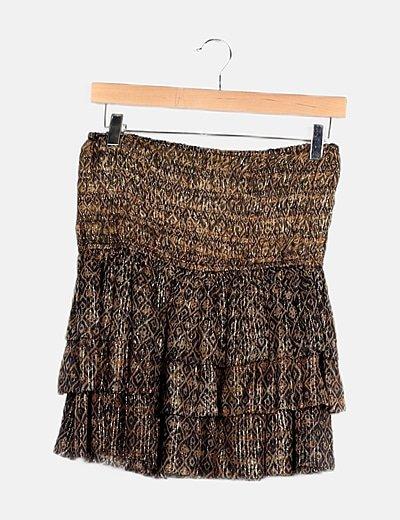 Minifalda estampado bicolor glitter fruncidos