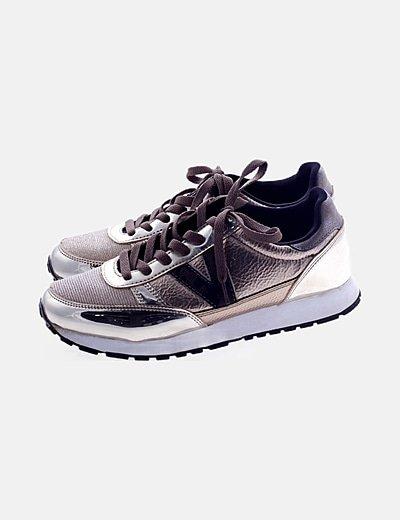 Zapatillas sneakers gllitter doradas