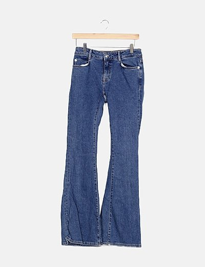 Jeans denim azul campana