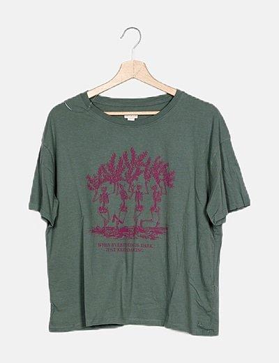Camiseta verde print esqueletos
