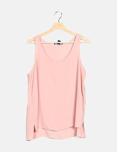 Camiseta fluida rosa sin mangas