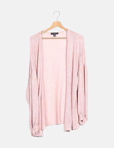 Cardigan rosa manga larga