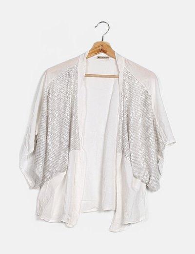 Kimono blanco con glitter