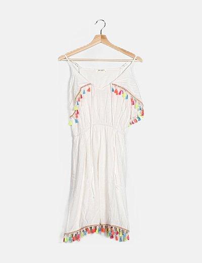 Vestido blanco detalle multicolor