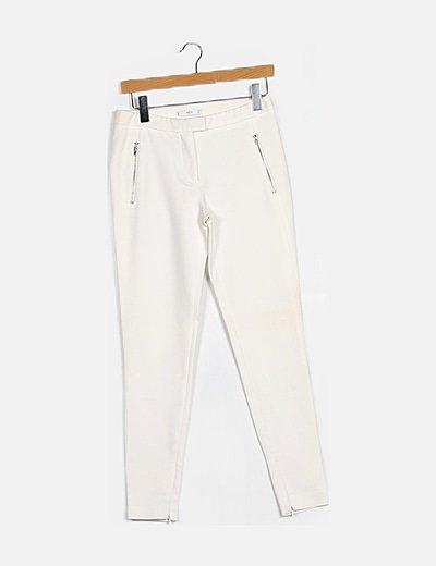 Pantalón ceñido blanco detalle cremallera