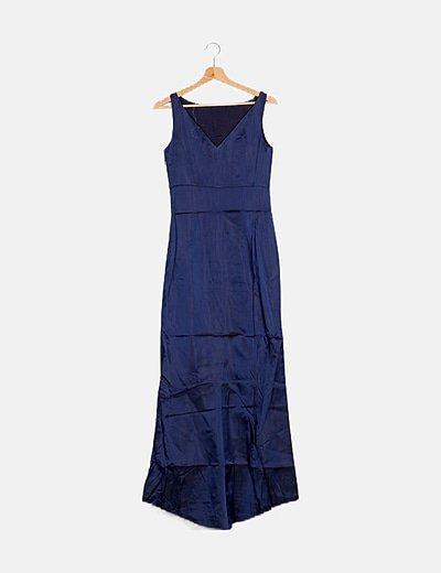 Maxi vestido azul satén escote pico