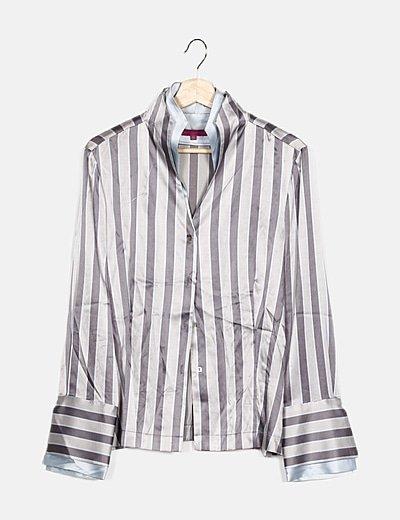 Camisa bicolor satén