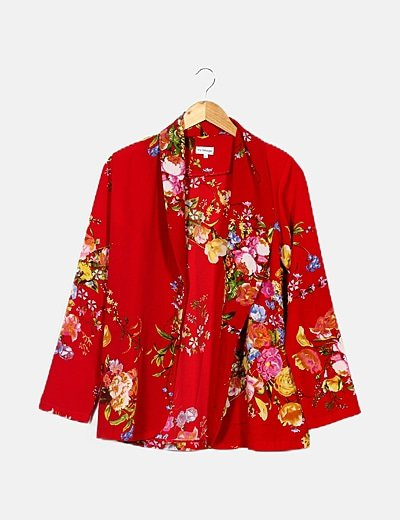 Blazer fluida roja estampado floral