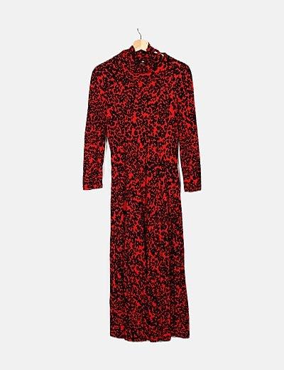 Vestido maxi rojo animal print