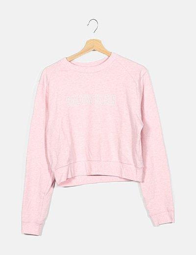 Sudadera crop rosa