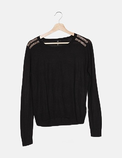 Jersey tricot negro detalle hombros
