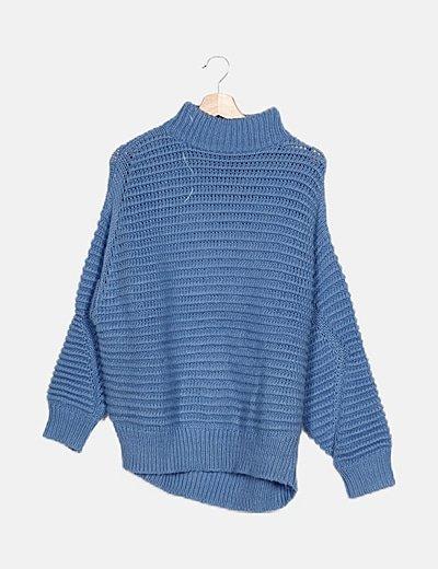 Jersey azul cuello alto
