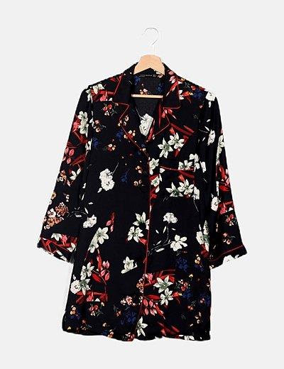 Camisa larga estampado floral