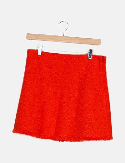 Falda tweed naranja