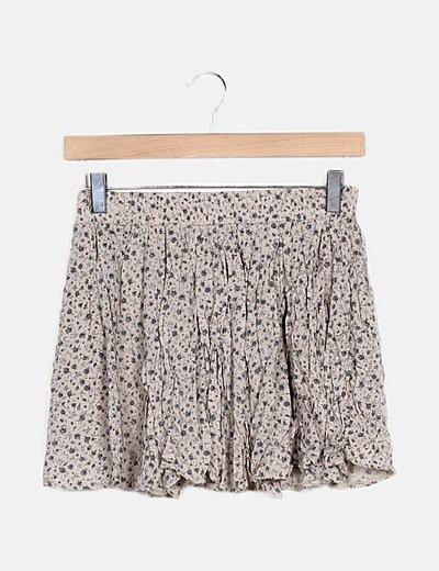 Falda mini gris estampada