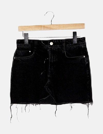 Falda mini denim negra