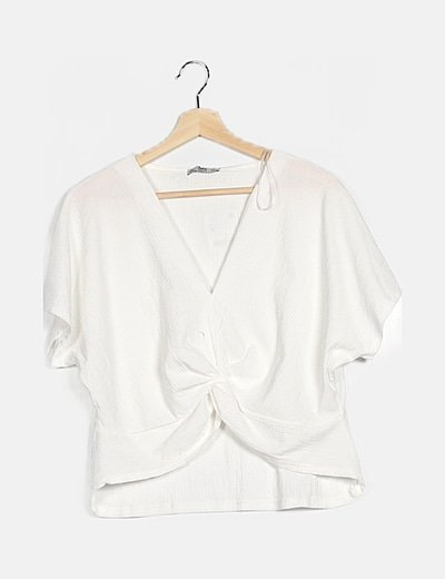 Camiseta nudo texturizada blanca