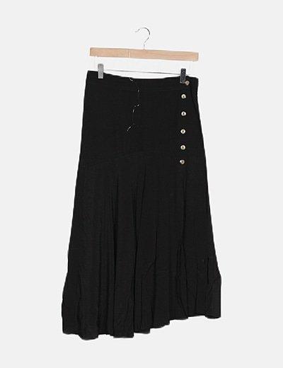 Falda midi negra abertura lateral