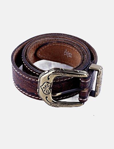 Cinturón marrón estampado