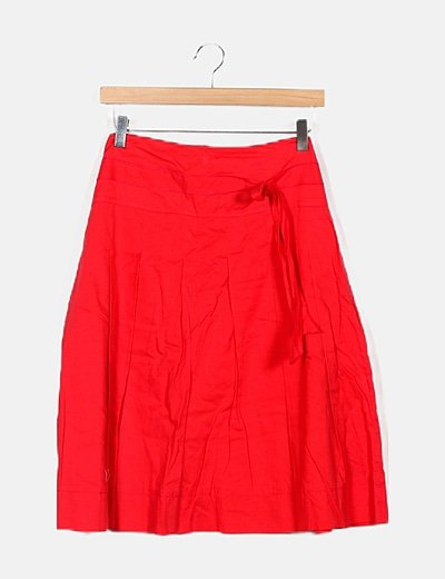 Falda fluida roja