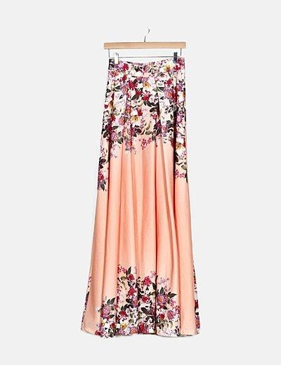 Falda maxi rosa estampado coral