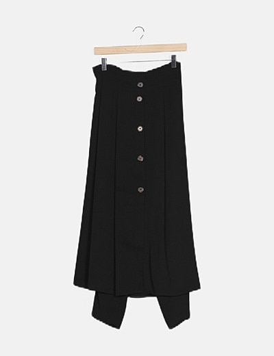 Falda maxi con botones negra