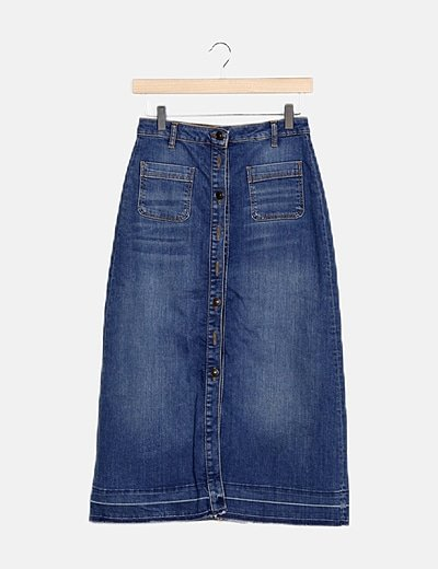 Falda midi denim azul