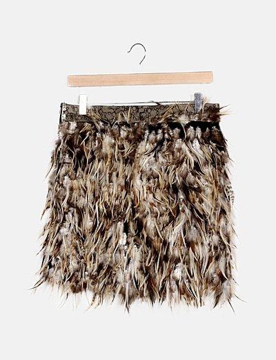 Minifalda plumas