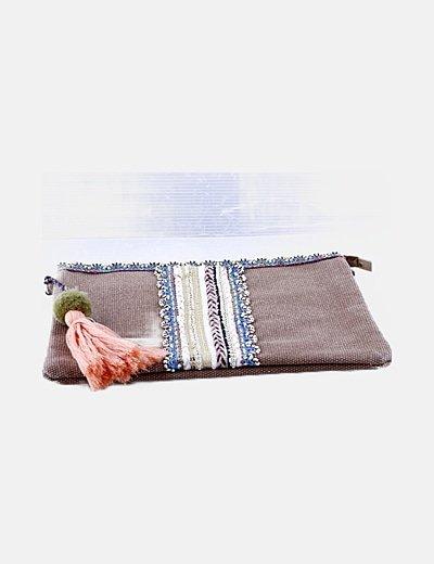 Bolso marrón detalle abalorios