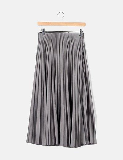 Falda maxi plisada gris