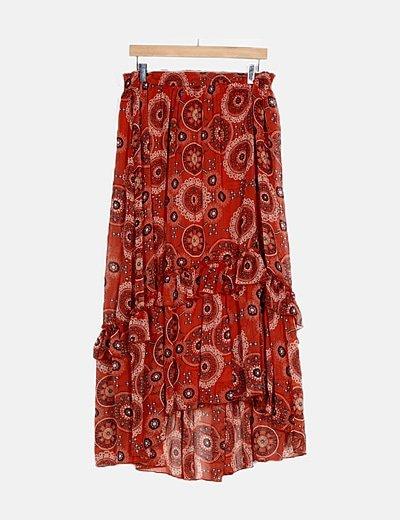 Falda maxi roja estampada