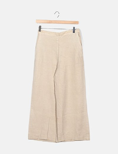 Pantalón fluido beige corte recto